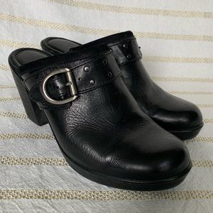 Black Buckle Clogs